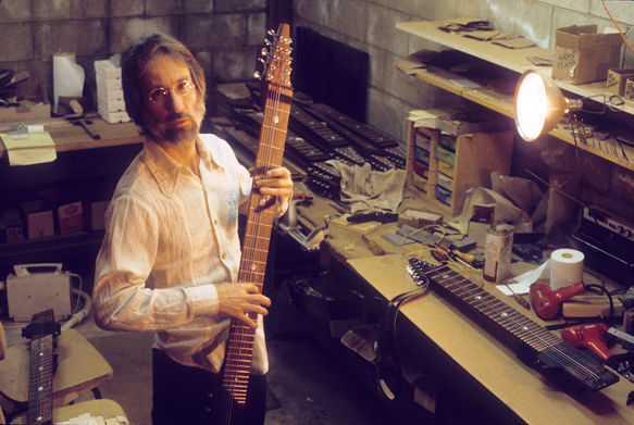 Emmett in his Stick making shop circa 1980. A converted basement garage of his home in Laurel Canyon.