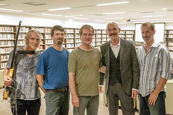 Very satisfied feeling hangin' with the best. Left to right Don Schiff, Greg Howard, me, Tony Levin and Gene Perry.